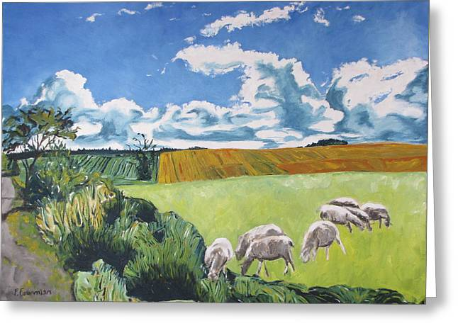 The Sheep Along The Road Greeting Card by Francois Fournier