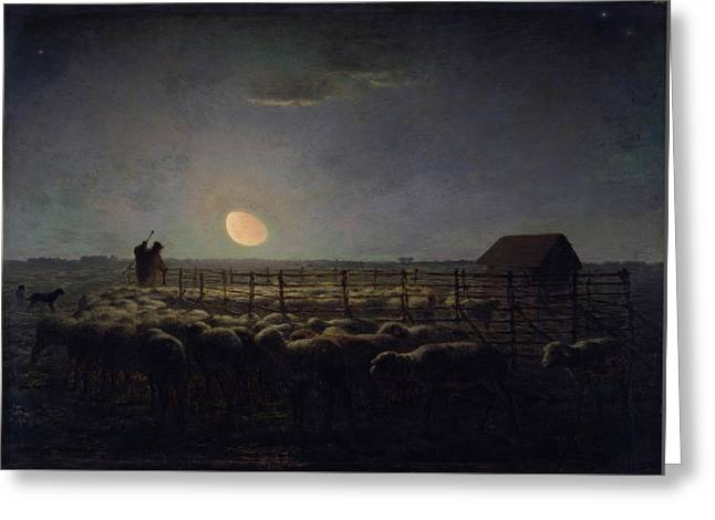 The Sheepfold, Moonlight Greeting Card by Jean-Francois Millet