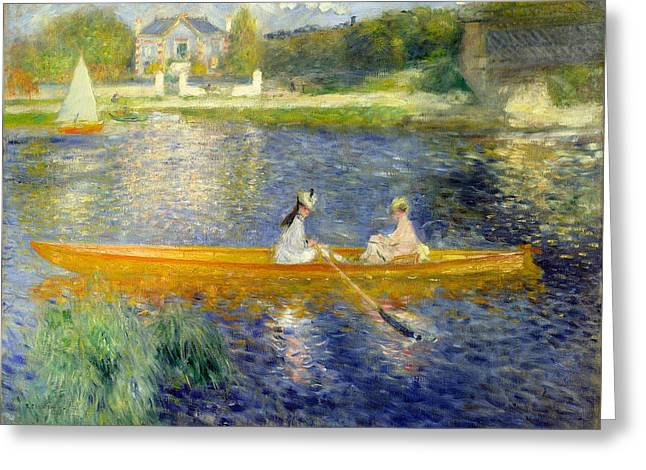 The Skiff Greeting Card by Pierre-Auguste Renoir