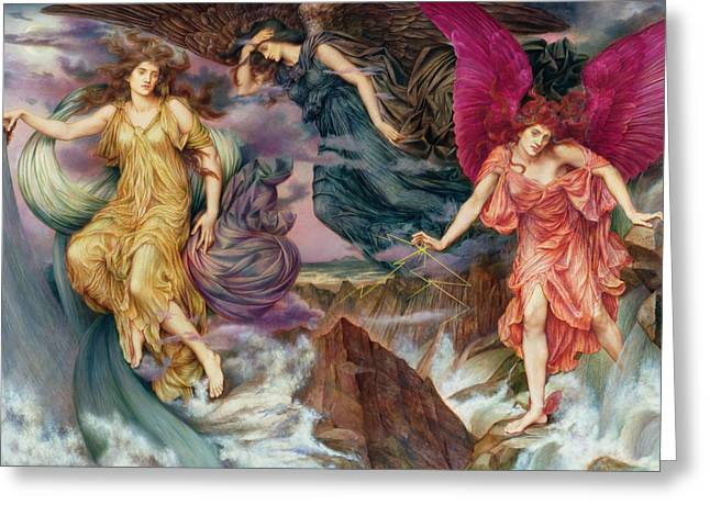 The Storm Spirits Greeting Card by Evelyn De Morgan
