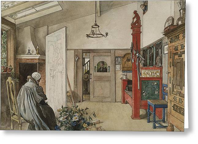 The Studio. From A Home Greeting Card by Carl Larsson