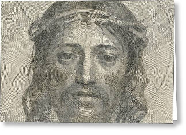 The Sudarium Of Saint Veronica Greeting Card by Claude Mellan