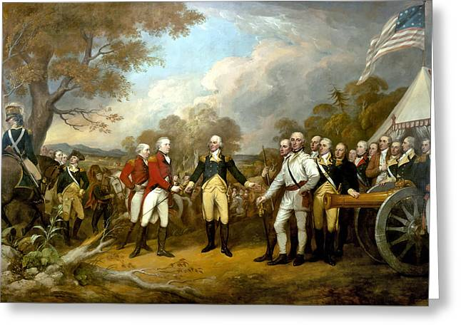 Revolutionary Paintings Greeting Cards - The Surrender of General Burgoyne Greeting Card by War Is Hell Store