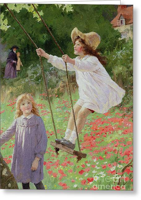 Girl Greeting Cards - The Swing Greeting Card by Percy Tarrant