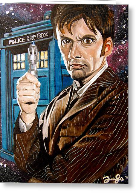 Doctors Greeting Cards - The Tenth Doctor and his TARDIS Greeting Card by Emily Jones