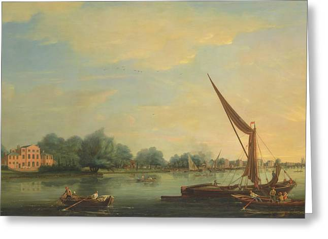 The Thames At Chelsea Greeting Card by Thomas Whitcombe
