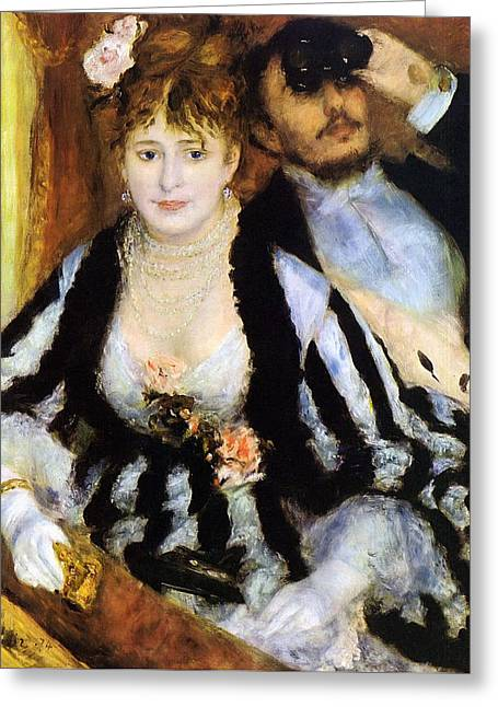 The Theater Box Greeting Card by Pierre-Auguste Renoir