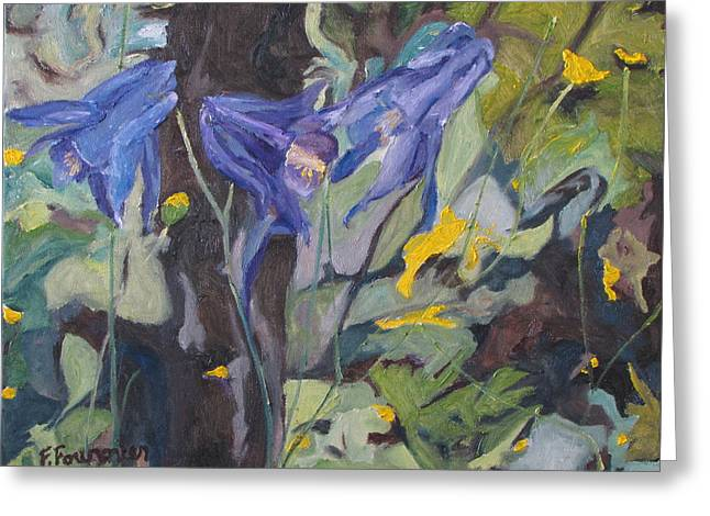 The Three Columbines  Greeting Card by Francois Fournier
