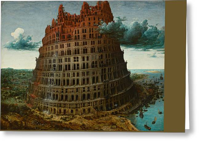 The Tower Of Babel Greeting Card by Pieter Bruegel the Elder