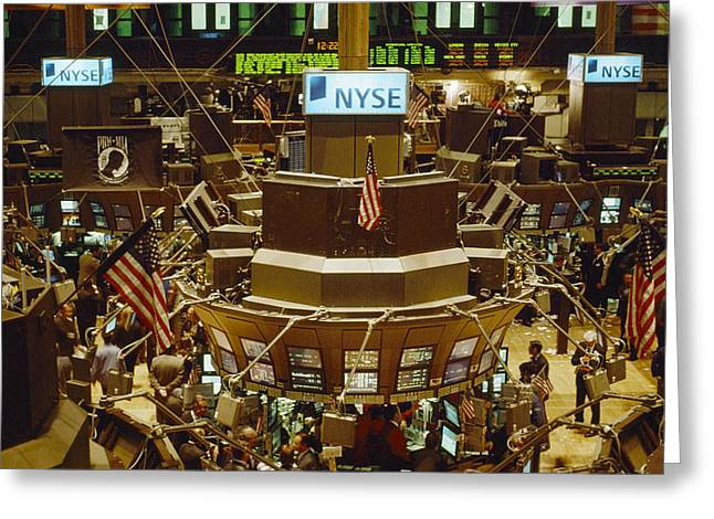 The Trading Floor Of The New York Stock Greeting Card by Justin Guariglia