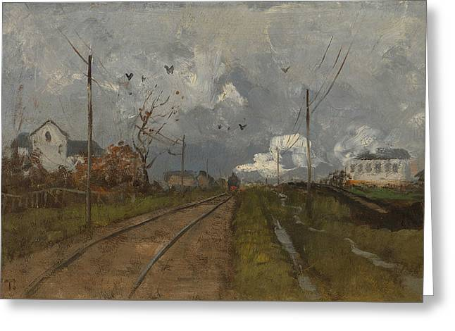 The Train Is Arriving Greeting Card by Frits Thaulow
