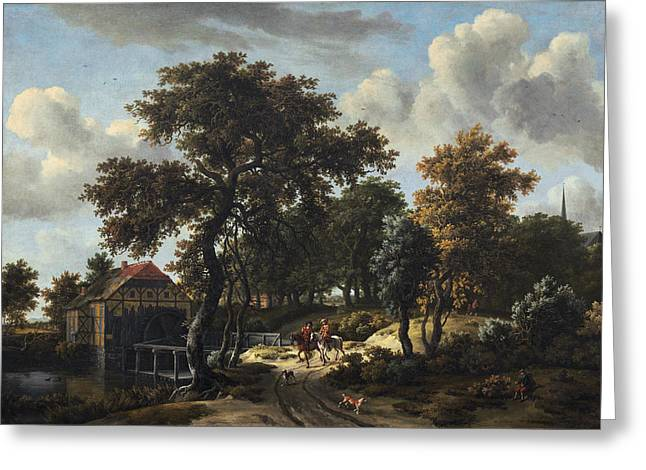The Travelers Greeting Card by Meindert Hobbema