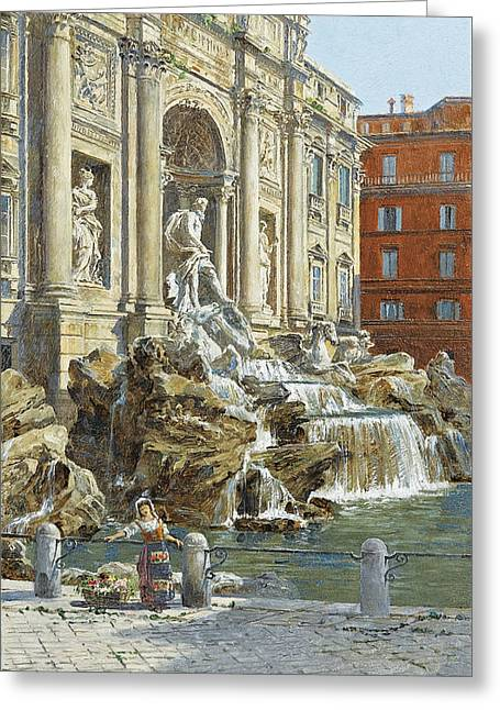 The Trevi Fountain In Rome Greeting Card by MotionAge Designs