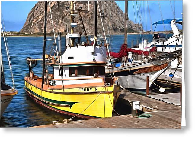 The Trudy S Morro Bay California Painting Greeting Card by Barbara Snyder