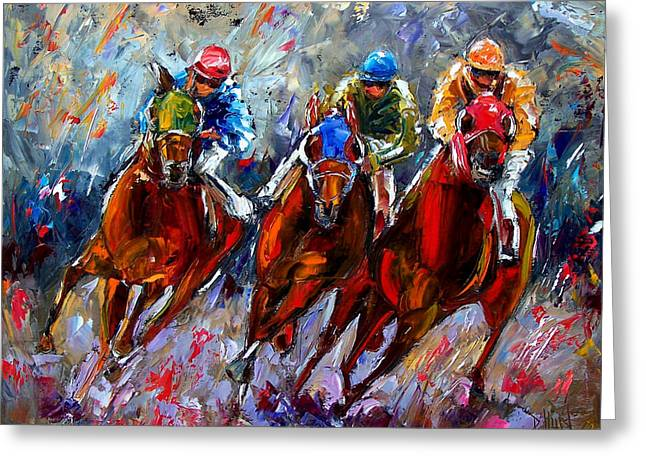 Race Horse Greeting Cards - The Turn Greeting Card by Debra Hurd