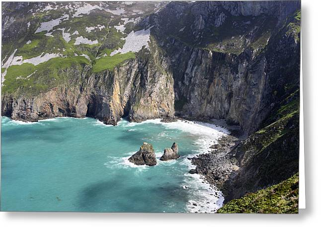 The Turquoise Water At Slieve League Sea Cliffs Donegal Ireland  Greeting Card by Pierre Leclerc Photography