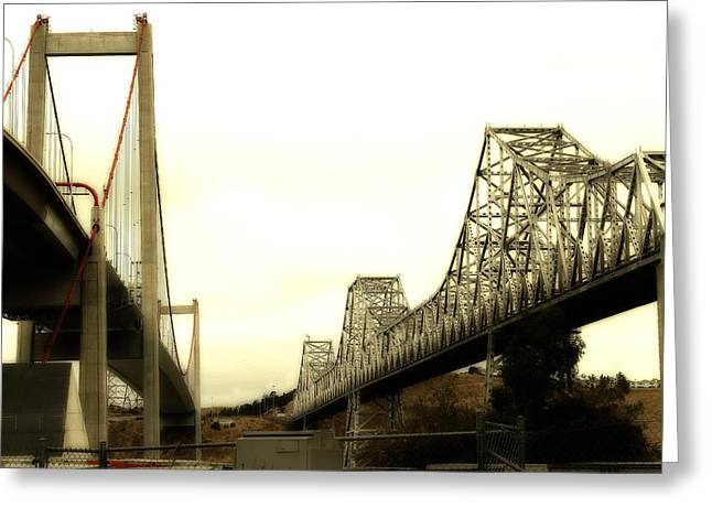 San Pablo Bay Greeting Cards - The Two Carquinez Bridges At Crockett and Vallejo California . aka Alfred Zampa Memorial Bridge . 7D8830 Greeting Card by Wingsdomain Art and Photography