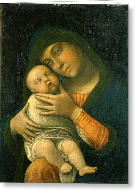 The Virgin And Child Greeting Card by Andrea Mantegna