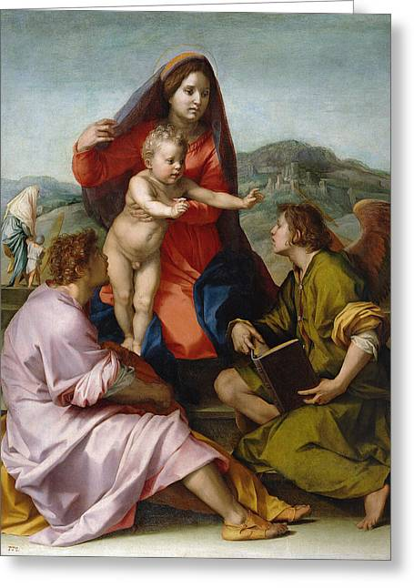 The Virgin And Child Between Saint Matthew And An Angel Greeting Card by Andrea del Sarto
