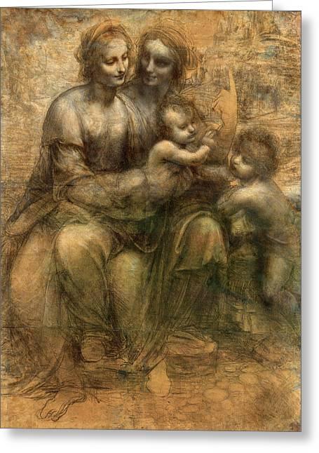 The Virgin And Child With Saint Anne And Saint John The Baptist Greeting Card by Leonardo da Vinci