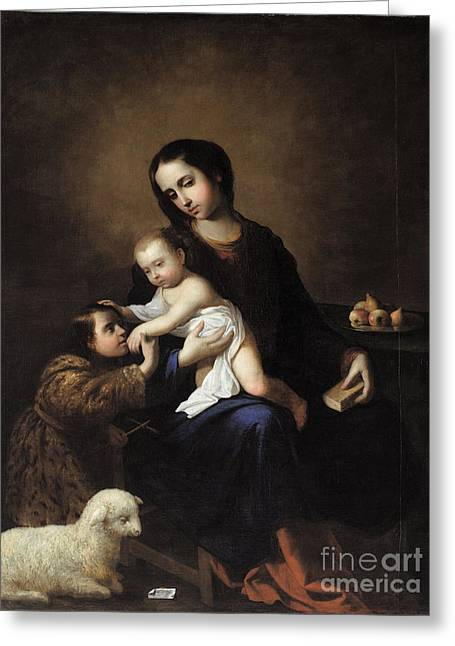 The Virgin And Child With The Infant St. John The Baptist Greeting Card