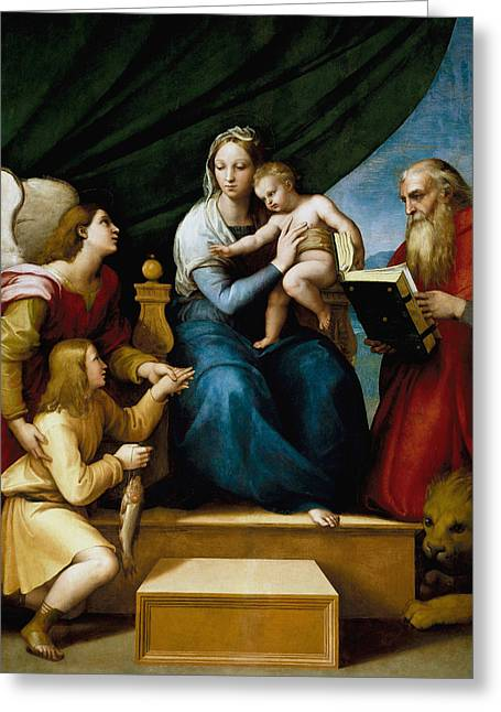 The Virgin With A Fish Greeting Card by Raffaello Sanzio
