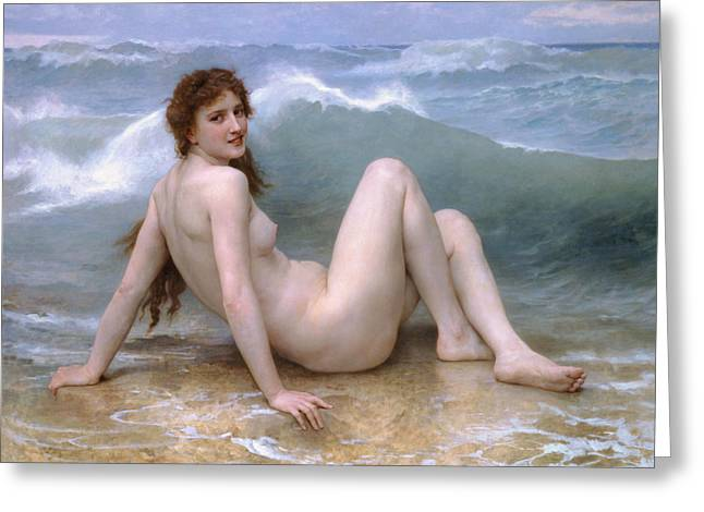 The Wave Greeting Card by William-Adolphe Bouguereau