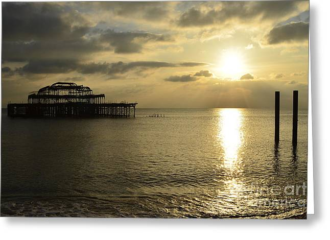 The West Pier Greeting Card by Nichola Denny