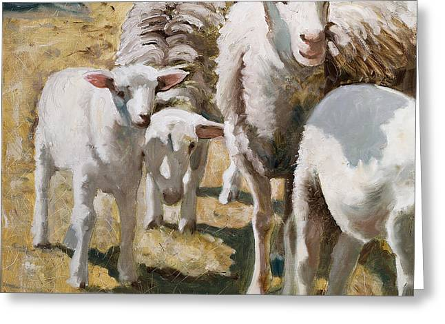Greeting Card featuring the painting The Whole Family Is Here by John Reynolds