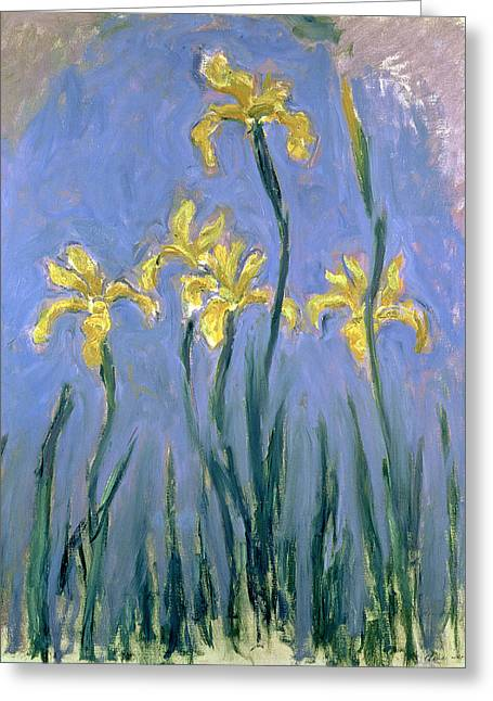 The Yellow Irises Greeting Card by Claude Monet