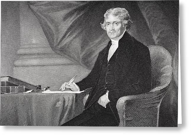 Thomas Jefferson 1743-1826. Third Greeting Card by Vintage Design Pics