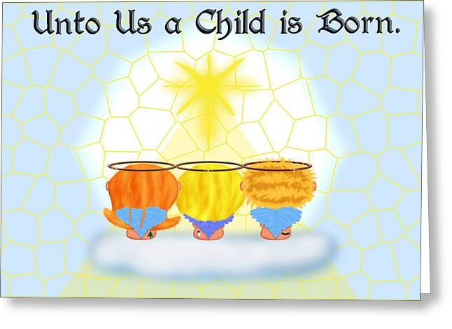 Three Angels Greeting Card by Chere Lei