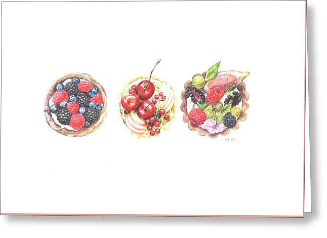 Three Berry Tartes Greeting Card
