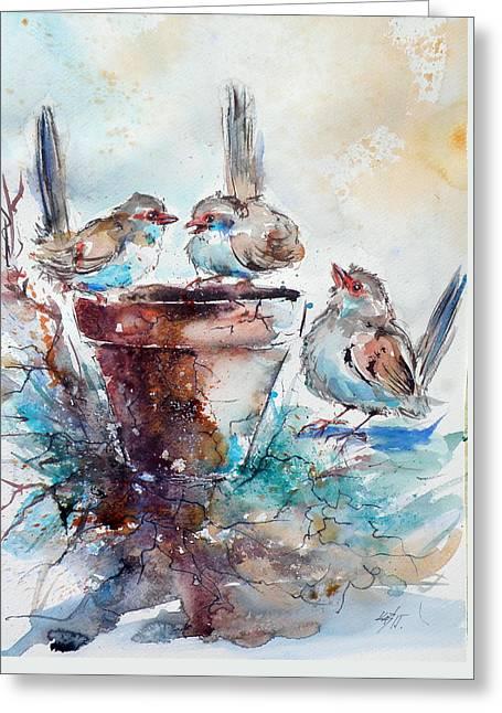 Three Birds Greeting Card by Kovacs Anna Brigitta