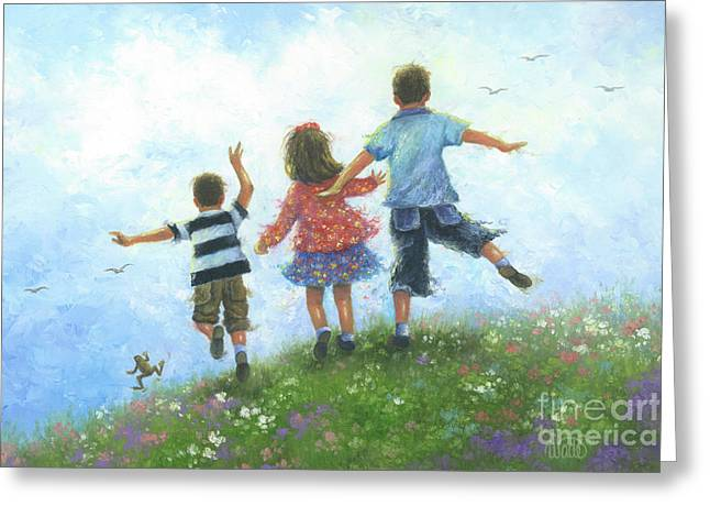 Three Children Leaping Greeting Card by Vickie Wade