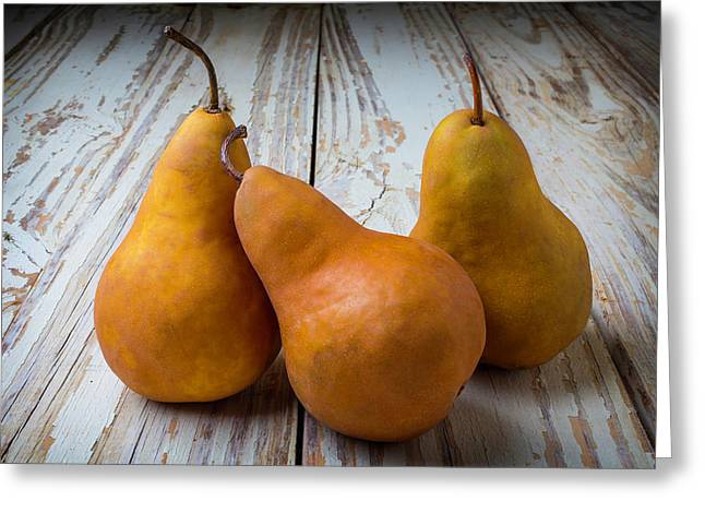 Three Golden Pears Greeting Card