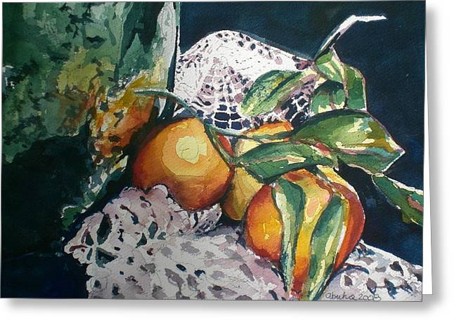 Three Oranges Greeting Card by Aleksandra Buha