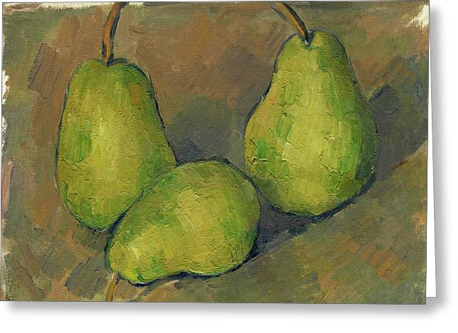 Three Pears Greeting Card by Paul Cezanne