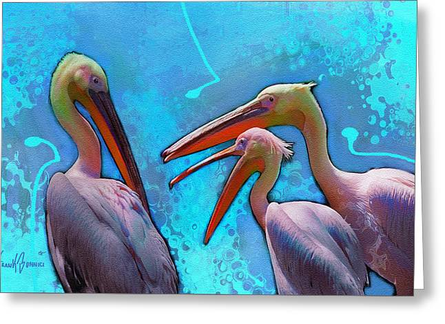 Three Pelicans Talking Greeting Card by Frank Bonnici
