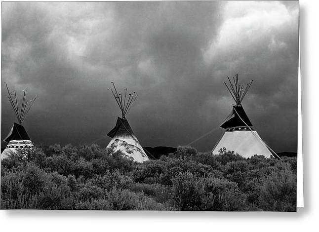 Greeting Card featuring the photograph Three Teepee's by Carolyn Dalessandro