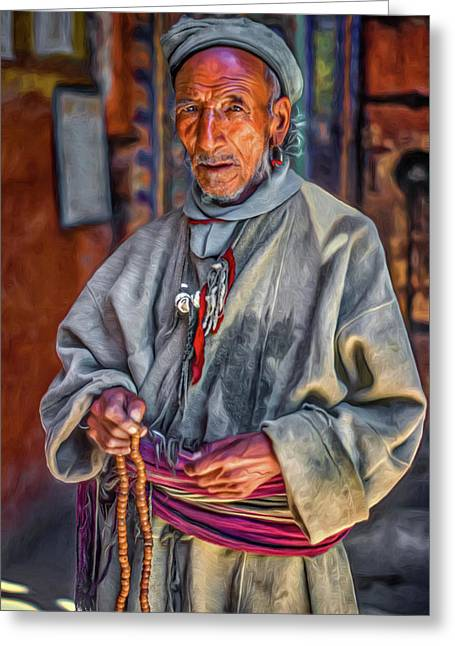 Tibetan Refugee - Paint Greeting Card by Steve Harrington