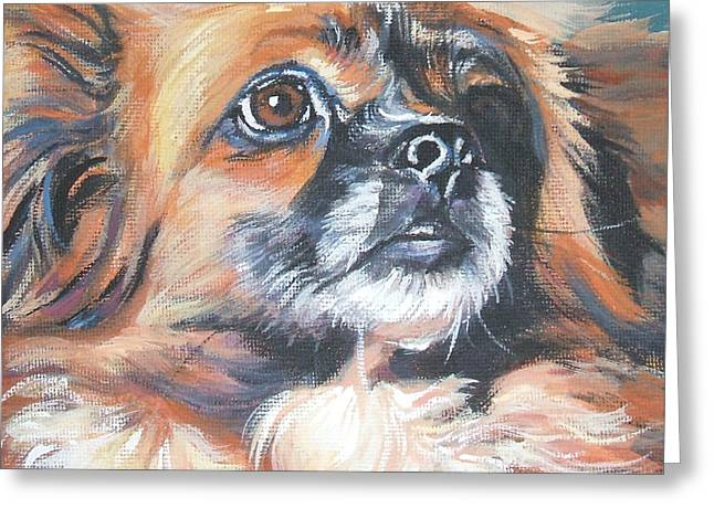 Tibetan Spaniel Greeting Card by Lee Ann Shepard