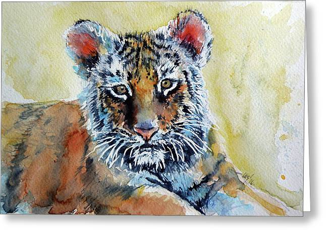 Tiger Cub Greeting Card by Kovacs Anna Brigitta
