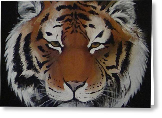 Tiger Head.  Greeting Card by Annelisa Fischer