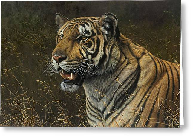 Greeting Card featuring the painting Tiger Portrait by Alan M Hunt