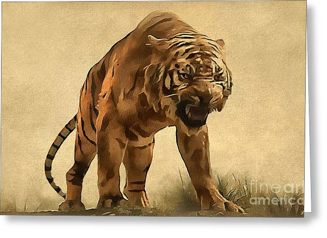 Tiger Greeting Card by Sergey Lukashin