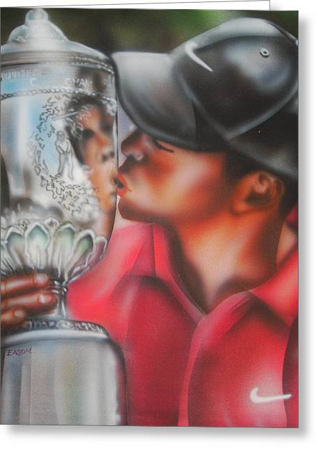Tiger Woods Greeting Card by Scott Easom
