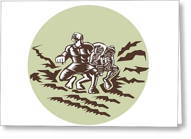 Tiitii Wrestling God Of Earthquake Circle Woodcut Greeting Card