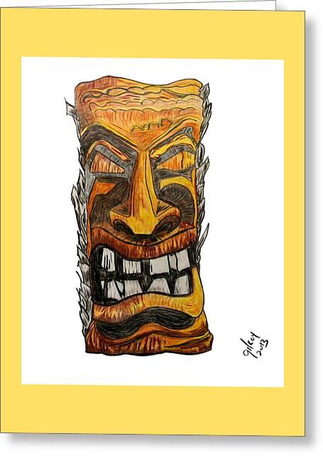 Tiki Art Greeting Card by W Gilroy
