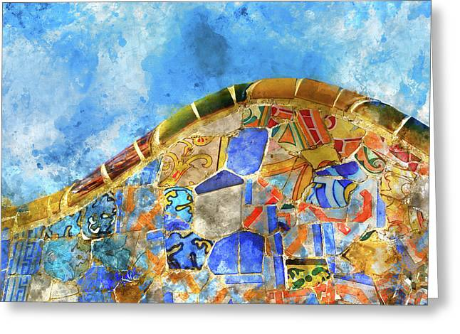 Tile Background In Parc Guell In Barcelona Spain Greeting Card by Brandon Bourdages